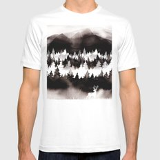 Foggy Forest MEDIUM White Mens Fitted Tee