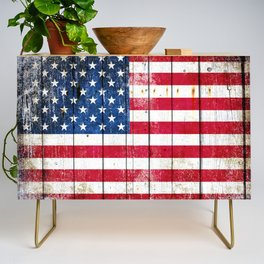 Distressed American Flag On Wood Planks - Horizontal Credenza