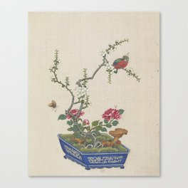 Vintage Chinese Bonsai Botanical Ink and Brush Painting-Flowers and Birds Canvas Print