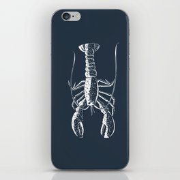 White lobster on navy iPhone Skin
