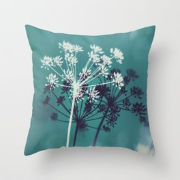 Twilight Stars. Botanical Macro Abstract in Blue. Throw Pillow