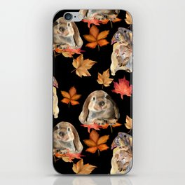 Rabbits and autumn leaves iPhone Skin
