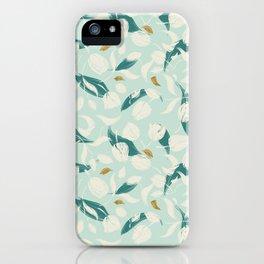 Botanical spring leaf pattern iPhone Case