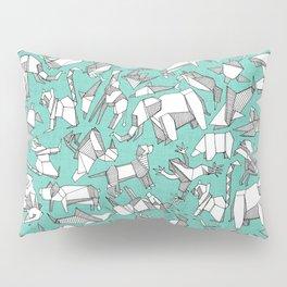 origami animal ditsy mint Pillow Sham