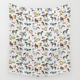 Horses and Flowers, Floral Horses, Western, Horse Art, Horse Decor, Gray Wall Tapestry