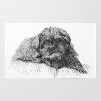 shih tzu Area & Throw Rugs featuring Shih Poo Resting by Tanya Petruk