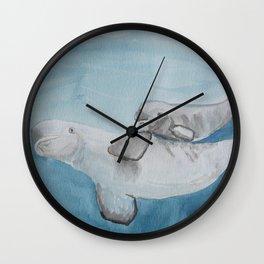 Beluga whale, mom and baby beluga illustration Wall Clock