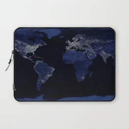 Earth at Night with the lights of most populated cities Laptop Sleeve