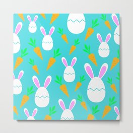 Happy Bunnies & Carrots | Easter Bunny | Easter Egg Bunny | pulps of wood Metal Print