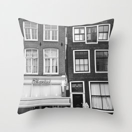 Love Amsterdam Houses and Bikes Throw Pillow