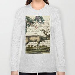 western country primitive christmas mountain animal wildlife winter pine tree elk Long Sleeve T-shirt