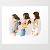 sisters Art Prints featuring Sisters by Bumpy