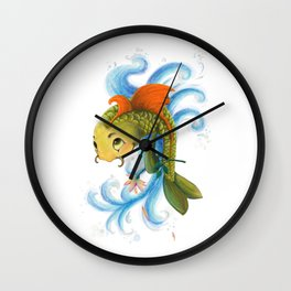 Fish with flower Wall Clock