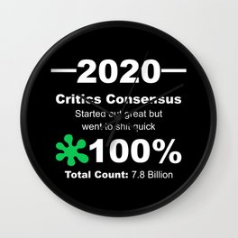 Humorous 2020 Review Rotten Tomatoes Score From World Population White Lettering Wall Clock