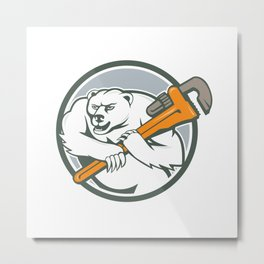 Polar Bear Plumber Monkey Wrench Circle  Metal Print