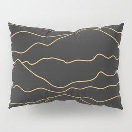 Mountains Lines Black Pillow Sham