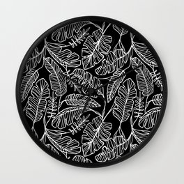 Contour Line Leaves in Black Wall Clock