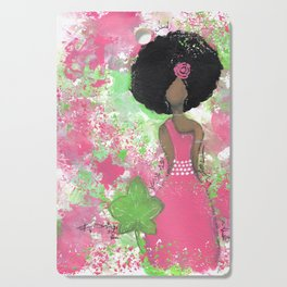 Dripping Pink and Green Angel Cutting Board