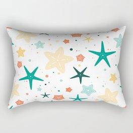 Seastars Pattern - Teal Rectangular Pillow