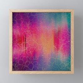 Artsy pink teal violet watercolor gold floral brushstrokes Framed Mini Art Print