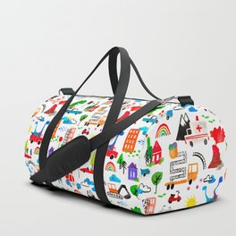 Dinosaur City Watercolor Transportation Pattern Duffle Bag