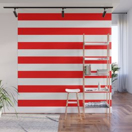 Horizontal Stripes (Red/White) Wall Mural