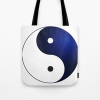 ying yang Tote Bags featuring Ying Yang by Timeless-Id