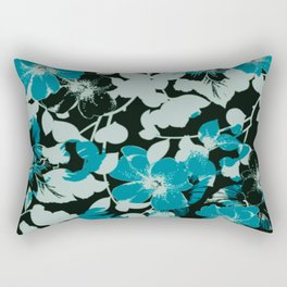 floral silhouette in teal Rectangular Pillow