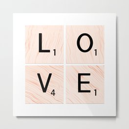 LOVE Scrabble Tiles on Custom Vector Wood Background Metal Print
