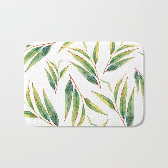leaves watercolor pattern Bath Mat