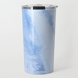 Shimmery Pure Cerulean Blue Marble Metallic Travel Mug