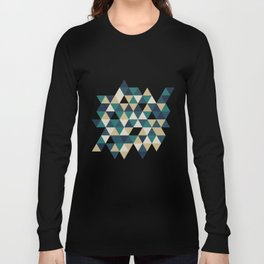 Foggy Petrol and Blue - Hipster Geometric Triangle Pattern Long Sleeve T-shirt