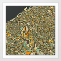cleveland Art Prints featuring CLEVELAND MAP by Jazzberry Blue