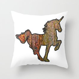 Wooden Unicorn Sign With A Fiery Tail Throw Pillow