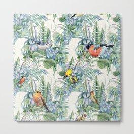 Vintage Style Birds Pattern.Green Flowers and Leaves Pattern, Print. Metal Print