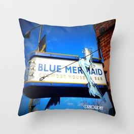 The Blue Mermaid Throw Pillow