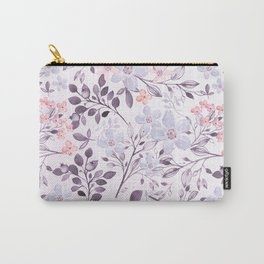 Hand painted modern pink lavender watercolor floral Carry-All Pouch
