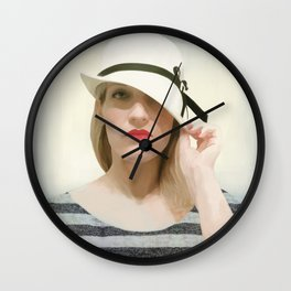 Portrait with Hat Wall Clock
