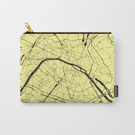 Paris France Minimal Street Map - Yellow on Black Carry-All Pouch