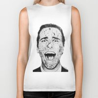 american psycho Biker Tanks featuring American Psycho by Aoife Rooney Art