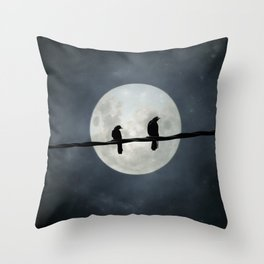 Two Crows In The Light Of A Silvery Moon Throw Pillow