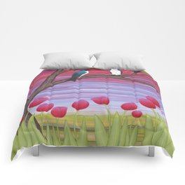 tree swallows & tulips at sunrise Comforters