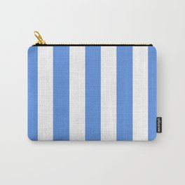 United Nations blue - solid color - white vertical lines pattern Carry-All Pouch