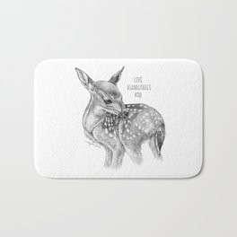 Deer Illustration By Magda Opoka | Animal | Black and White | bw | black-and-white | Animals Bath Mat