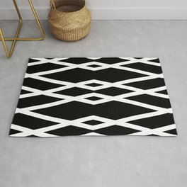 Black and White Abstract Linear Intersecting Lines Pattern Rug