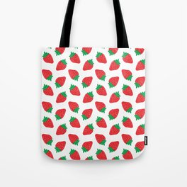 Cream Strawberries Pattern Tote Bag