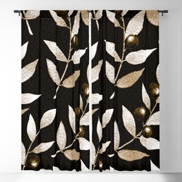 Bronze Berries And Leaves Watercolor Pattern On Black Blackout Curtain