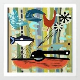 Mid Century Modern Fish Art Art Print