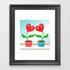Cute hearts-flowers in love Framed Art Print