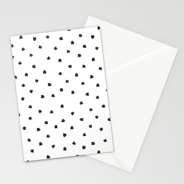 Black Cats Polka Dot Stationery Cards